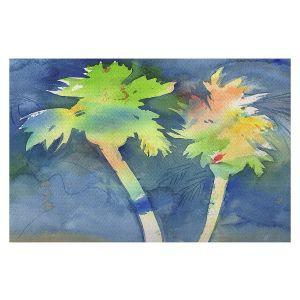 Decorative Floor Covering Mats | Sheila Golden - Palms Last Light | silhouette tree beach watercolor