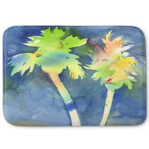 Decorative Bathroom Mats | Sheila Golden - Palms Last Light | silhouette tree beach watercolor