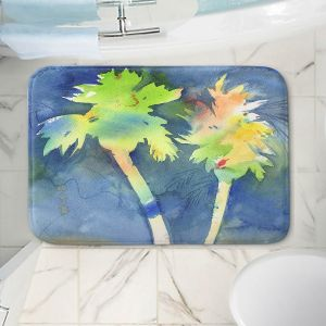 Decorative Bathroom Mats | Sheila Golden - Palms Last Light | silhouette tree beach watercolor