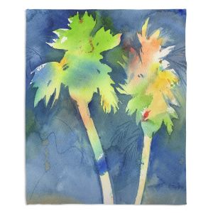 Artistic Sherpa Pile Blankets | Sheila Golden - Palms Last Light | silhouette tree beach watercolor