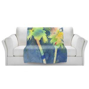 Artistic Sherpa Pile Blankets   Sheila Golden - Palms Last Light   silhouette tree beach watercolor