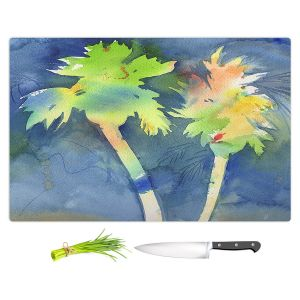 Artistic Kitchen Bar Cutting Boards | Sheila Golden - Palms Last Light | silhouette tree beach watercolor