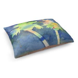 Decorative Dog Pet Beds | Sheila Golden - Palms Last Light | silhouette tree beach watercolor
