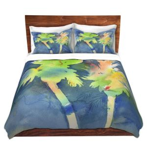 Artistic Duvet Covers and Shams Bedding | Sheila Golden - Palms Last Light | silhouette tree beach watercolor
