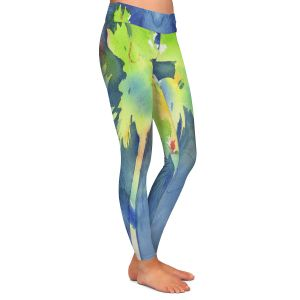 Casual Comfortable Leggings | Sheila Golden - Palms Last Light | silhouette tree beach watercolor