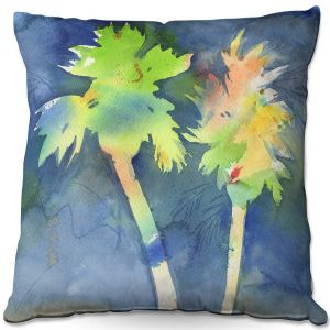 Decorative Outdoor Patio Pillow Cushion | Sheila Golden - Palms Last Light | silhouette tree beach watercolor