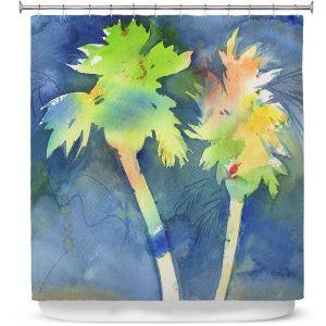 Premium Shower Curtains   Sheila Golden - Palms Last Light   silhouette tree beach watercolor