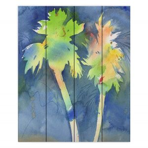 Decorative Wood Plank Wall Art | Sheila Golden - Palms Last Light | silhouette tree beach watercolor