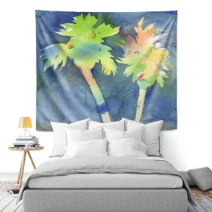Artistic Wall Tapestry | Sheila Golden - Palms Last Light | silhouette tree beach watercolor