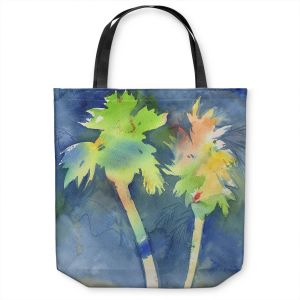 Unique Shoulder Bag Tote Bags | Sheila Golden - Palms Last Light | silhouette tree beach watercolor