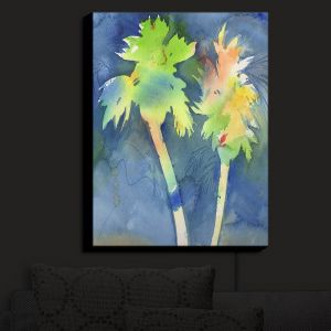 Nightlight Sconce Canvas Light | Sheila Golden - Palms Last Light | silhouette tree beach watercolor