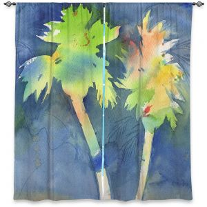 Decorative Window Treatments | Sheila Golden - Palms Last Light | silhouette tree beach watercolor
