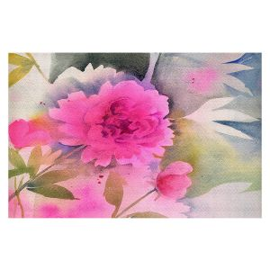 Decorative Floor Covering Mats | Sheila Golden - Peony | flower still life watercolor
