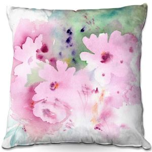 Throw Pillows Decorative Artistic | Sheila Golden - Pink Flower | flower abstract watercolor
