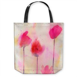 Unique Shoulder Bag Tote Bags | Sheila Golden - Pink Poppy Dreams | flower simple silhouette