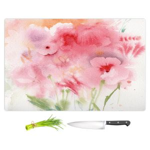 Artistic Kitchen Bar Cutting Boards | Sheila Golden - Pink and Orange Flowers | Flowers Nature