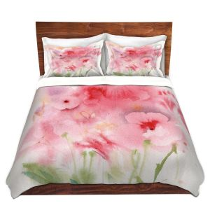 Artistic Duvet Covers and Shams Bedding | Sheila Golden - Pink and Orange Flowers | Flowers Nature