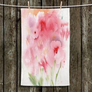 Unique Hanging Tea Towels | Sheila Golden - Pink and Orange Flowers | Flowers Nature
