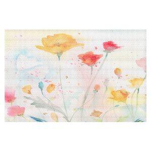 Decorative Floor Covering Mats   Sheila Golden - Poppy Festival   flower simple silhouette watercolor