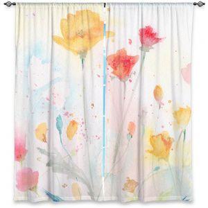 Decorative Window Treatments | Sheila Golden - Poppy Festival | flower simple silhouette watercolor