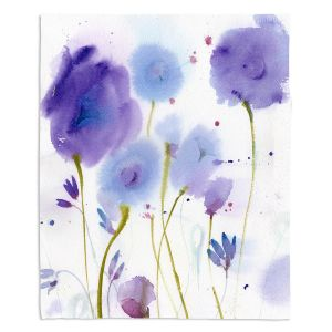 Decorative Fleece Throw Blankets | Sheila Golden - Purple Blossoms | flower watercolor nature