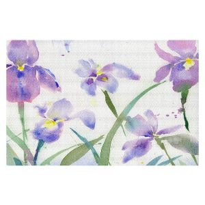 Decorative Floor Covering Mats | Sheila Golden - Purple Iris 1 | flower watercolor nature