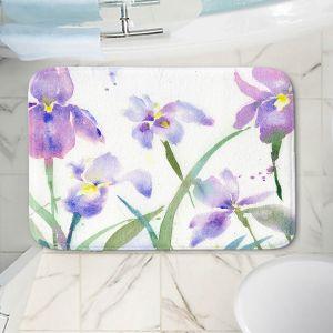 Decorative Bathroom Mats | Sheila Golden - Purple Iris 1 | flower watercolor nature