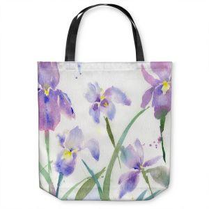 Unique Shoulder Bag Tote Bags | Sheila Golden - Purple Iris 1 | flower watercolor nature