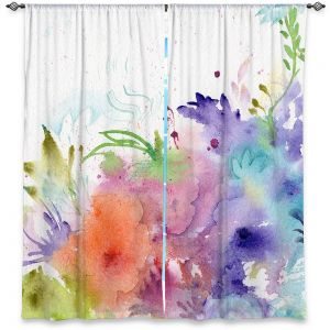 Decorative Window Treatments | Sheila Golden - Rainbow Garden | flower watercolor abstract silhouette