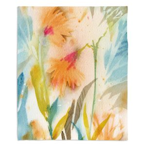 Decorative Fleece Throw Blankets | Sheila Golden - Tropical Orange Flowers | flower nature watercolor
