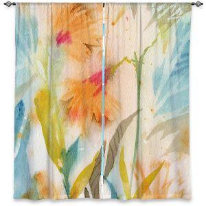 Decorative Window Treatments | Sheila Golden - Tropical Orange Flowers | flower nature watercolor