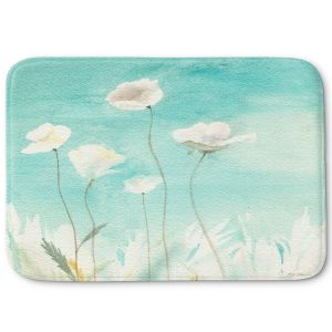 Decorative Bathroom Mats | Sheila Golden - White Poppies | flower nature watercolor