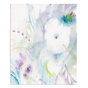 Decorative Fleece Throw Blankets | Sheila Golden - White Flower | Flowers Nature