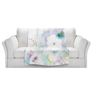 Artistic Sherpa Pile Blankets | Sheila Golden - White Flower | Flowers Nature