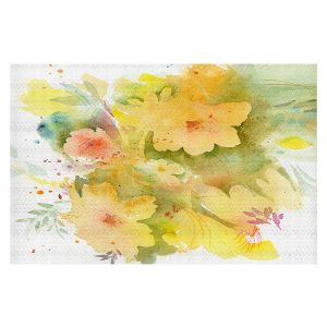 Decorative Floor Covering Mats   Sheila Golden - Yellow Bloom   flower nature abstract silhouette