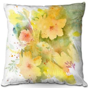 Throw Pillows Decorative Artistic | Sheila Golden - Yellow Bloom | flower nature abstract silhouette
