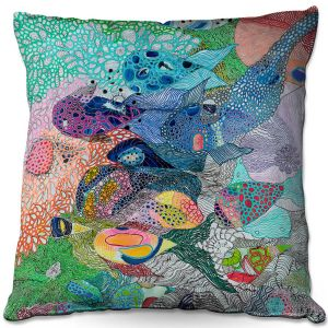 Decorative Outdoor Patio Pillow Cushion | Sonia Begley - Coral Reef 1 | Colorful Abstract