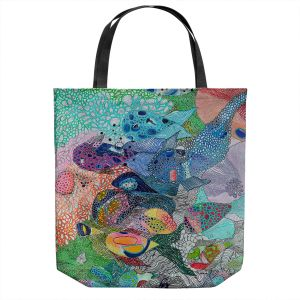 Unique Shoulder Bag Tote Bags | Sonia Begley - Coral Reef 1 | Colorful Abstract