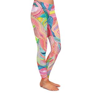 Casual Comfortable Leggings | Sonia Begley - Coral Sunrise | Colorful Abstract