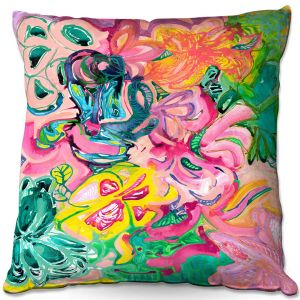 Throw Pillows Decorative Artistic | Sonia Begley - Tropical Coral Garden | Colorful Abstract beach