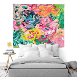 Artistic Wall Tapestry | Sonia Begley - Tropical Coral Garden | Colorful Abstract beach