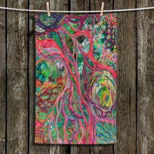 Unique Hanging Tea Towels | Sonia Begley - Tropical Coral Sunrise | Colorful Abstract beach