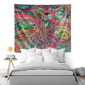 Artistic Wall Tapestry | Sonia Begley - Tropical Coral Sunrise | Colorful Abstract beach