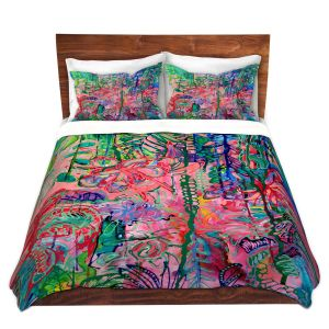 Artistic Duvet Covers and Shams Bedding   Sonia Begley - Tropical Holiday Blooms   Colorful Abstract Floral Flowers