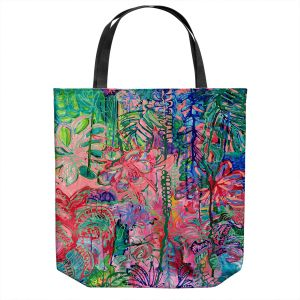 Unique Shoulder Bag Tote Bags | Sonia Begley - Tropical Holiday Blooms | Colorful Abstract Floral Flowers