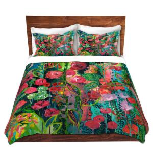 Artistic Duvet Covers and Shams Bedding | Sonia Begley - Tropical Night Bloom 2 | Abstract Floral Flowers