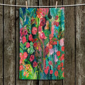 Unique Hanging Tea Towels | Sonia Begley - Tropical Night Bloom 2 | Abstract Floral Flowers