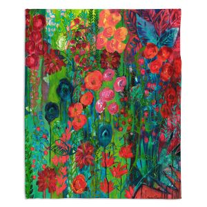 Decorative Fleece Throw Blankets | Sonia Begley - Tropical Night Blooms 1 | Abstract Floral Flowers