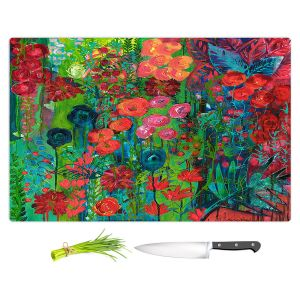 Artistic Kitchen Bar Cutting Boards | Sonia Begley - Tropical Night Blooms 1 | Abstract Floral Flowers