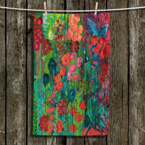 Unique Bathroom Towels | Sonia Begley - Tropical Night Blooms 1 | Abstract Floral Flowers